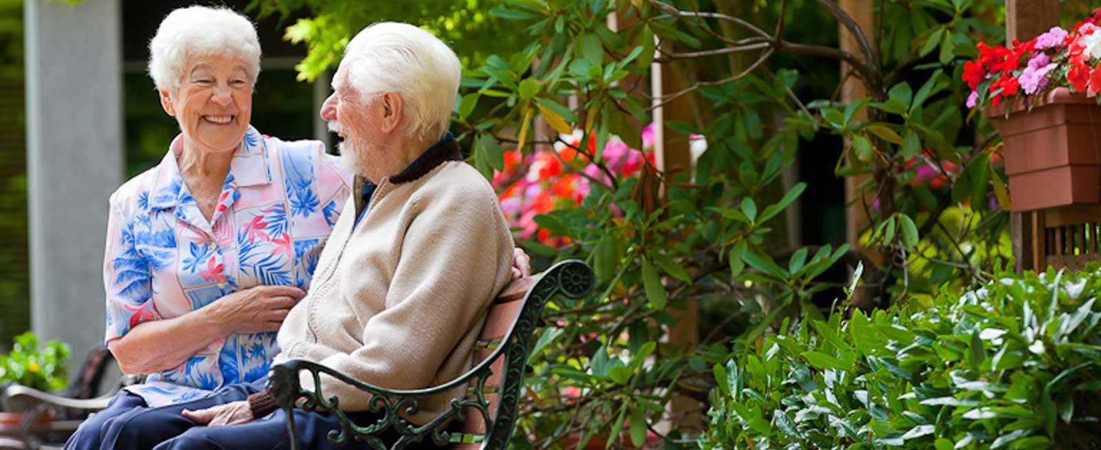 VRS Lakeside Gardens Seniors Community Your Lifestyle happy senior residents conversing in garden
