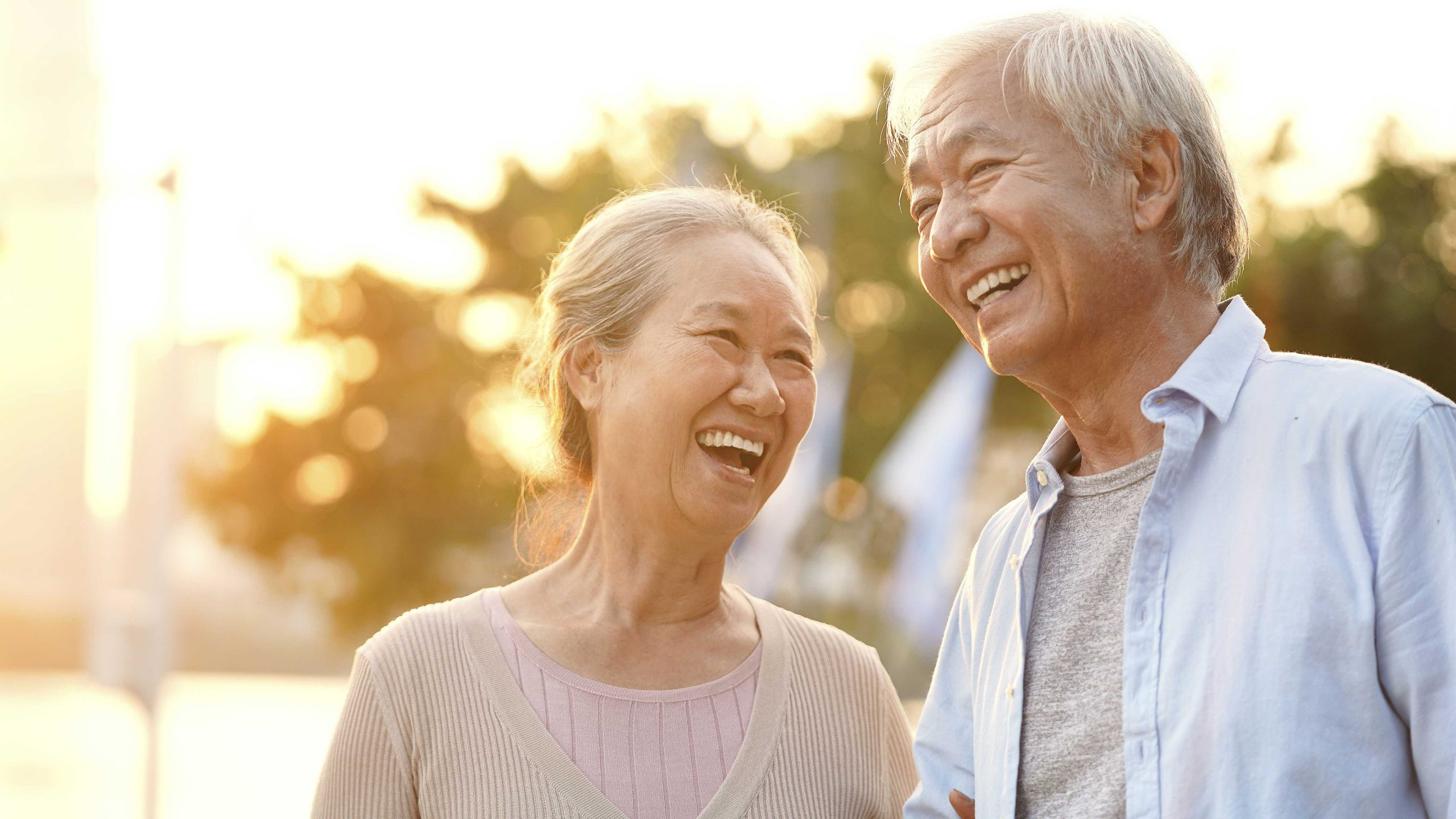 Happy Senior Couple Laughing in the Sunshine
